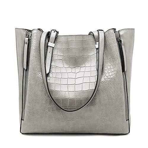 Handbag Tote Pattern Crocodile (Mn&Sue Women Shoulder Tote Bags Vintage Crocodile Pattern Handbags Top Handle Leather Purse Large Satchel (Light Grey))