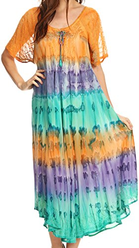 Embroidered Tie Dye Tie - Sakkas 17506 - Sula Tie-Dye Wide Neck Embroidered Boho Sundress Caftan Cover Up - Orange/Mint - OS