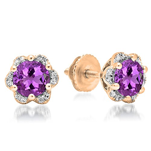 14K Rose Gold 6 MM Each Round Amethyst & White Diamond Ladies Flower Cluster Stud Earrings (14k Amethyst Flower)
