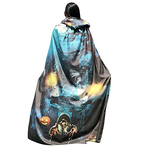 Washington Capitals Halloween Costume (DEATU Halloween Costume, Novelty Pumpkin Print Cape Scarf Halloween Poncho Shawl/Costume Accessory (a-Light)