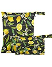 COZYHM Wet Dry Bags for Diaper Bag Lemon Leaves Flower Floral Cloth Diaper Hanging Wet Bags Waterproof Washable Organizer Pouch with Pocket for Travel Camping Beach