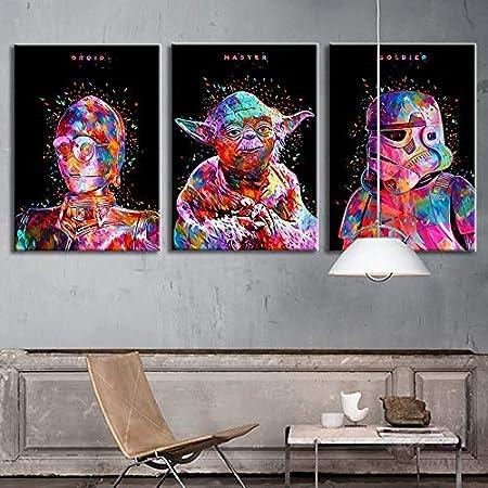 Película de ciencia ficción de Hollywood abstracto colorido estrella alienígenas Robots personaje guerras lienzo pintura arte de pared póster sala de estar dormitorio decoración del hogar