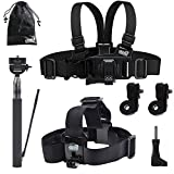 EEEKit Gift Pack for VTech Kidizoom Kid Action Cam 180, Extension Handle Pole, Head Strap Mount, Junior Child Kid Chest Body Harness Mount, Neck Strap, Storage Bag