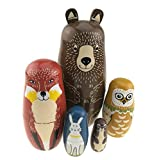 Cartoon Bear Fox Owl Rabbit Raccoon Handmade Wooden Russian Nesting Dolls Matryoshka Dolls Set 5 Pieces for Kids Toy Birthday New Year Christmas Gift Home Decoration
