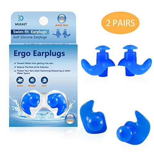 - Upgraded Swimming Ear Plugs, 2 Pairs Waterproof Reusable Silicone Ear Plugs for Swimming Diving Molded Professional Soft Flexible Showering Surfing and Other Water Sports (Adult)