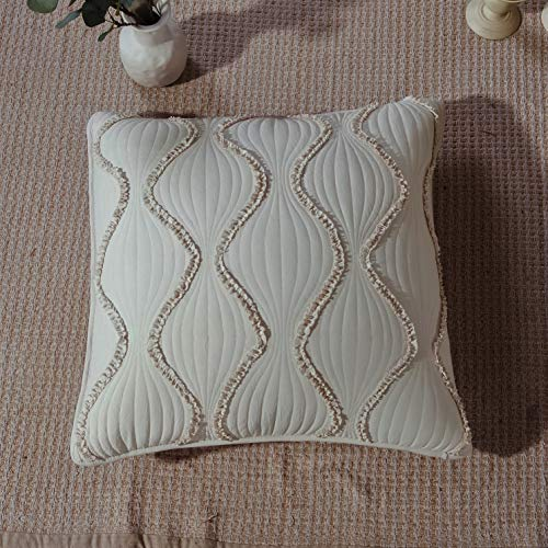DaDa Bedding Bohemian Euro Pillow Sham - Elegant Hourglass Medium Ivory Ruffles - 26
