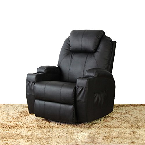 360 Degree Swivel Massage Recliner Home Office Ergonomic Lounge Heated Chair W/Control (Black) price