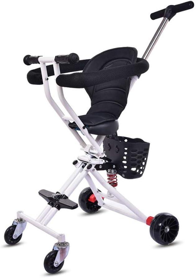 子供三輪車 SONG 折り畳み式トロリー 子供のクワッド 光 車に赤ちゃん 安全柵付き 赤ちゃんのおもちゃギフト 屋外ポータブル四輪 (Color : White)