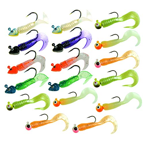 QualyQualy 1/4oz 9/32oz Fishing Jigs Lure Saltwater Freshwater Lead Heads Jigs with Curly Tail Maggot Worms Soft Baits Fishing Lures Kit for Bass Trout 17Pcs/Pack ()