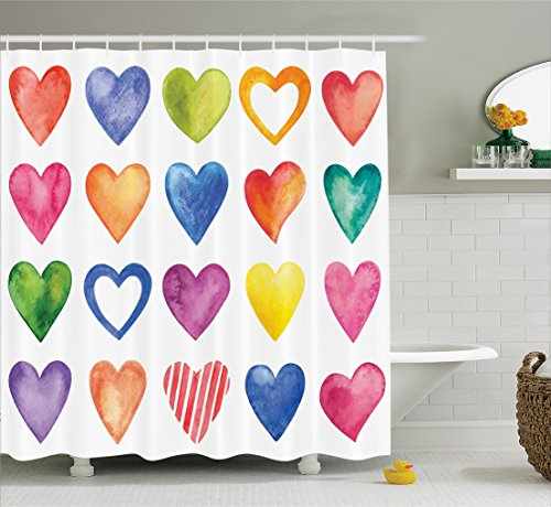 Valentines Day Grunge Home Decor Shower Curtain By Ambesonne, Rainbow Heart Shapes Love Valentine's Day Design His and Hers Theme, Bathroom Set with Hooks, 84 Inches Extralong, Blue Yellow and Fuchsia