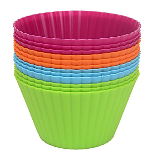 Webake 12 pack Silicone Reusable Cupcake