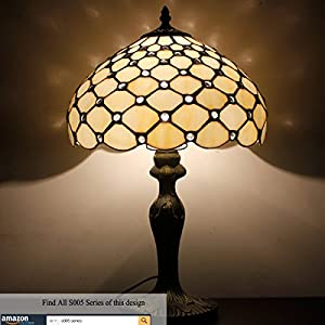 Tiffany style Pearl table lamp light S005 series 18 inch tall Cream shade E26