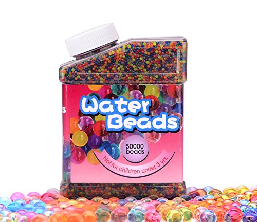Amzmalt Water Beads Rainbow Mix, 50000 PCS Water Gel for Orbees Spa Refill, Sensory Toys, Wedding Decoration and Soil, Plant Decoration -