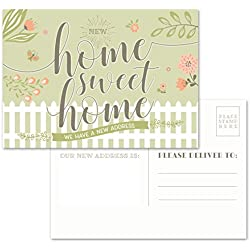 "Moving Announcement Postcards - Pack of 50 Home Sweet Home 4.25"" x 6"" Postcards. Qualifies for First Class Postcard Postage Rates."