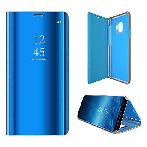 HONTECH Galaxy S9 Case, Translucent View Mirror Flip Electroplate Stand Case for Samsung Galaxy S9 (Blue) ()