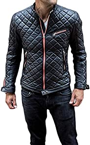 The American Fashion Leather Jacket Mens - Cafe Racer Motorcycle Real Lambskin Leather Jacket