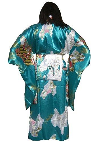 LV International Trade Adult Satin Kimono Robe - Teal