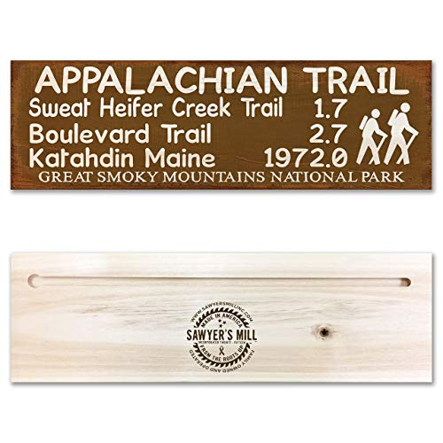 Appalachian Trail | Handmade Wood Block Trail Marker Sign from Great Smoky Mountain National Park for Hikers
