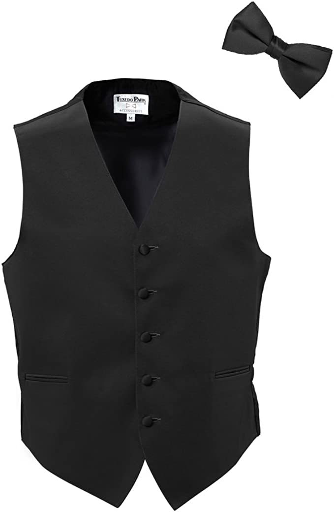 Black Satin Tuxedo Vest with Bowtie /& Pocket Square Set