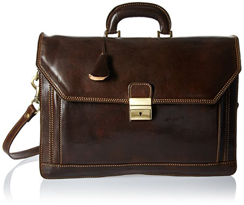 "Italian Leather Briefcase Flapover Large Triple Compartment 16"" Laptop Case"