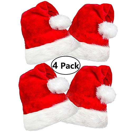 4 Pack Plush Santa Hat, Traditional Red and White Plush Christmas Santa Hat for Christmas Party, Adult size