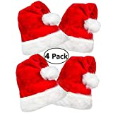 4 Pack Plush Santa Hat, Traditional Red and White Plush Christmas Santa Hat for Chirstmas Party, Adult Size