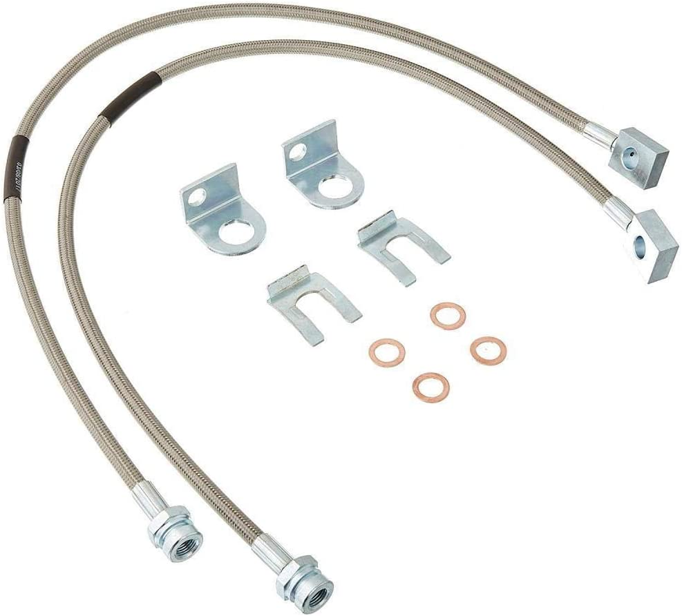 Jeep Wrangler TJ YJ Cherokee XJ w// 4-6 Lift 89703 Rough Country Extended Rear Stainless Brake Lines Fits 1987-2006