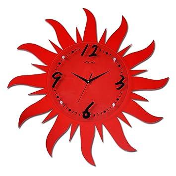 XIXIGZ Relojes De Pared Sol Rojo Arte Relojes Creativos Sala De Estar Dormitorio Decoración del Hogar Dormitorio Sala De Niños Reloj De Silencio ...
