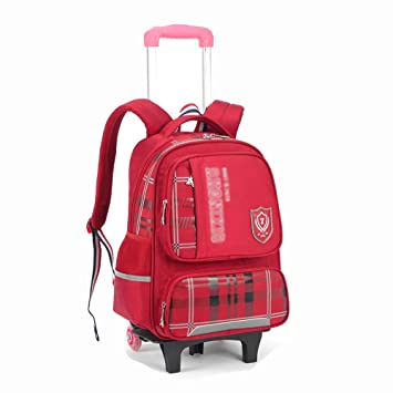 452f4d04394f Amazon.com : HONGNA Children's Trolley Bag Backpack Two Rounds ...