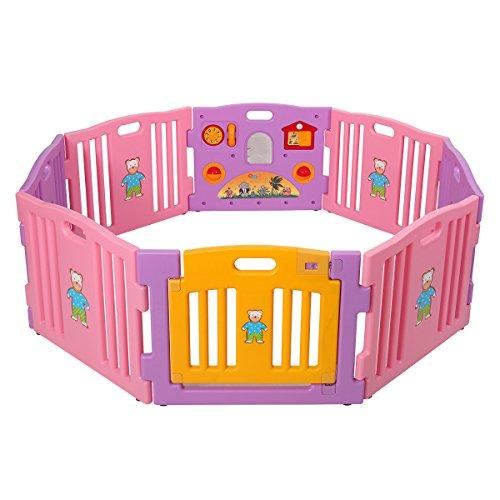 LAZYMOON Pink Baby Playpen 8 Panel Kids Safety Center Yard Home Indoor Outdoor Pen