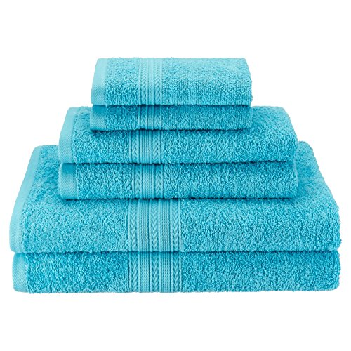 Superior Eco-Friendly 100% Ringspun Cotton, 6 Piece Towel Set in Turquoise