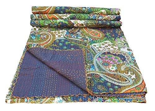 colors of rajasthan Indian Kantha Blanket, Bed Cover, King Kantha Bedspread, Bohemian Bedding Kantha Hippie Quilts (Purple) (With Our King And Queen Through India)
