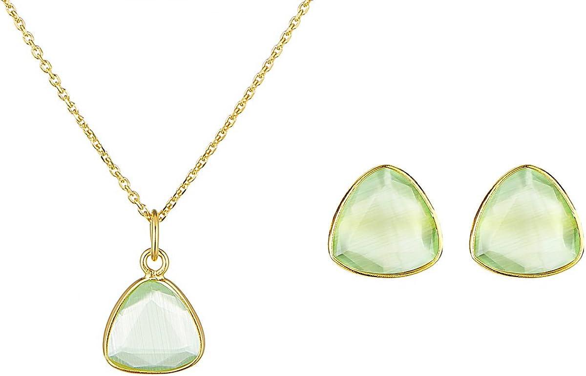 Córdoba Jewels | Conjunto de Gargantilla y Pendientes en Plata de Ley 925 bañada en Oro con Piedra semipreciosa diseño Triangle Esmeralda Light Oro