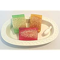 Luffa Soap Set Handmade Soap, Sweet Pea, Morning Rain, Sweet Honey, Soap with Embedded Loofah