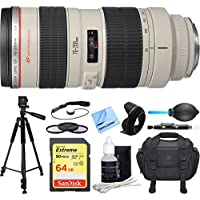 Canon EF 70-200mm F/2.8L USM Lens Deluxe Accessory Bundle includes Lens, 64GB Extreme SD Memory Card, Tripod, 77mm Filter Kit, Lens Hood, Bag, Cleaning Kit, Beach Camera Cloth and More