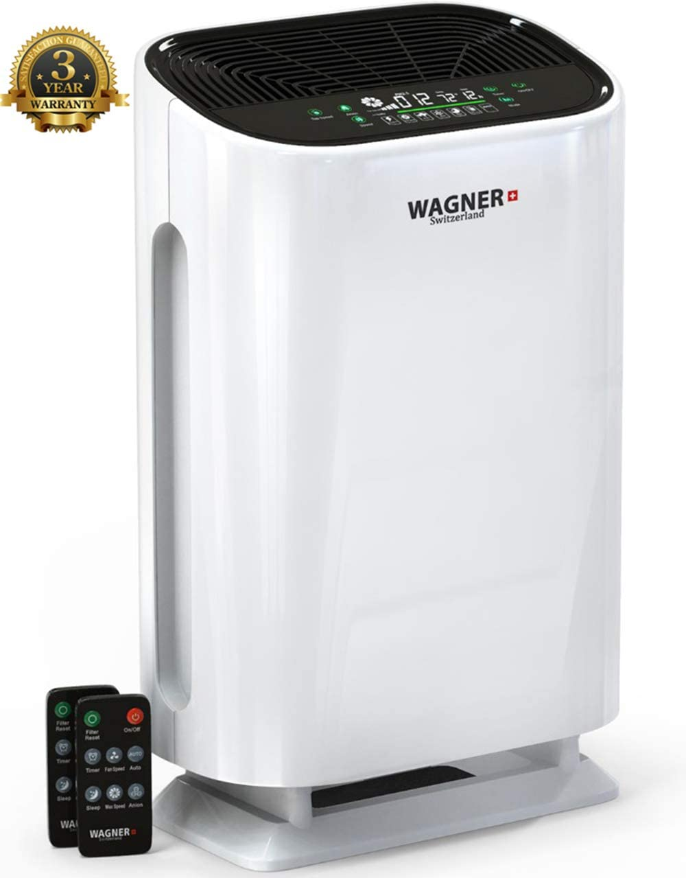 WAGNER Switzerland Air Purifier WA888 with Air Quality Monitor with Particle Sensor for Rooms up to 500 sq.ft. Removes Mold, Odors, Dust, Smoke, Allergens, Germs and Pet Dander. HEPA Filter 5-Stage.