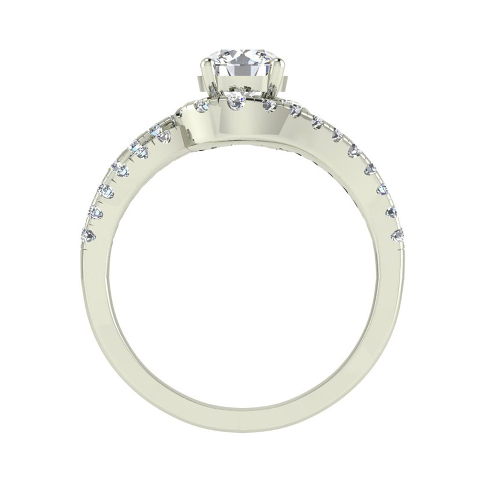 Ocean Wave Intertwined Diamond Engagement Ring for women 14K White Gold 1.32 Carat Total 3/4 ct Center Round Brilliant Cut (Ring Size 5.5) by Glitz Design (Image #3)