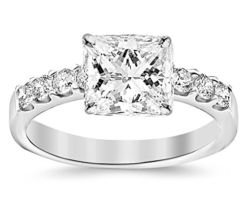 GIA Certified 1.03 Carat Princess Cut/Shape Platinum Classic Prong Set Round Diamond Engagement Ring with a 0.50 Carat, E Color, VVS2-VS1 Clarity Center Stone