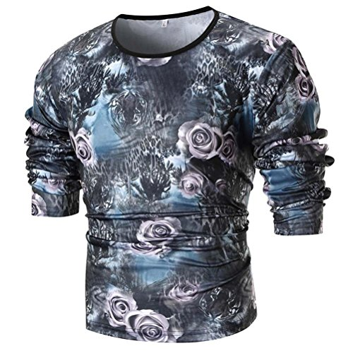 Clearance Sale Mens Fashion T Shirts vermers Men's Personality Slim Fit Casual Long Sleeve Printed Top Blouse(L, (Modern Peacoat)