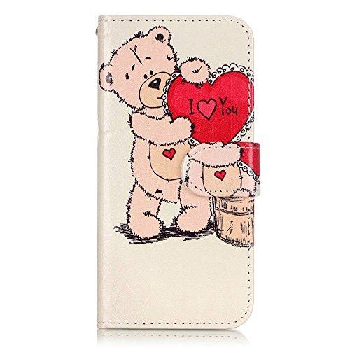 """Apple iPhone 7Sac étui Cover Case de protection """"I Love You Multicolore decui Multicolore Housse en simili cuir"""