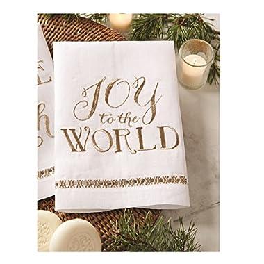 Mud Pie Glitter Christmas Holiday Metallic White Linen Towels (Joy)