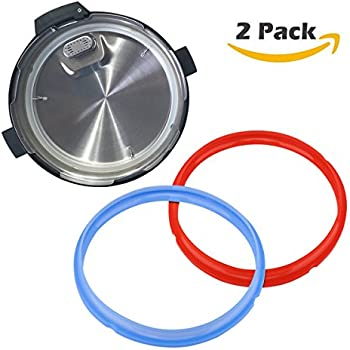 Rubber Silicon Ring, 2 Pack Silicone Pot Ring Rubber Pressure Cooker Gasket Seal Ring (Red + Blue)