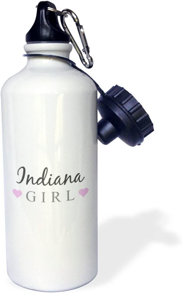 3dRose wb/_161846/_1Indiana Girl-home state pride-USA-United States of America-text and cute girly pink hearts Sports Water Bottle 21 oz White