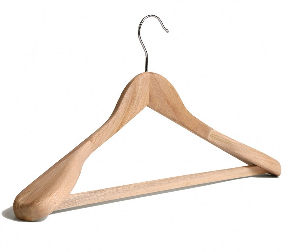 Wahdawn Natural Camphor Wood Clothes Hangers Wide Wooden Coat Suit Hanger with Bar (5)