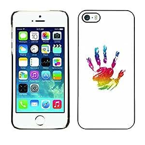 X-ray Impreso colorido protector duro espalda Funda piel de Shell para Apple iPhone 5 / iPhone 5S - Paint Hand Mark Colorful Art Oil