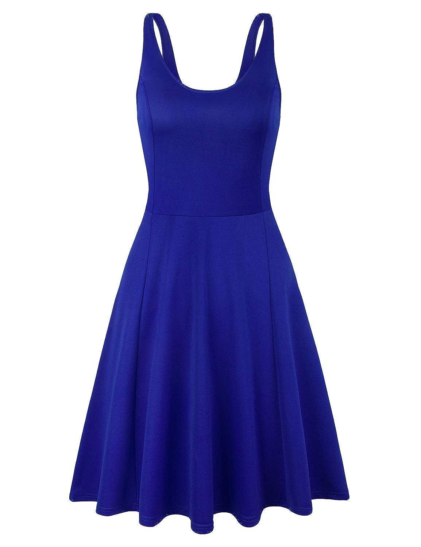 color bluee Elemevol Womens Sleeveless Casual A Line Flowy Vintage Floral Dress