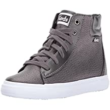 Keds Girl's Double Up High Top Shoes, Pewter, 3.5 M US Big Kid