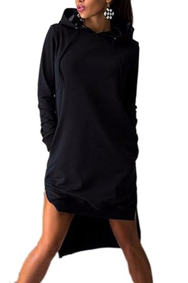 La Mujer Casual Manga Larga con Capucha Sudadera Vestido De Alta Baja Irregular Midi Black XS
