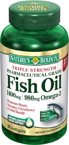 Force Bounty Triple Nature One par jour d'huile de poisson 1400 mg, 980 mg d'oméga-3, 39 gélules