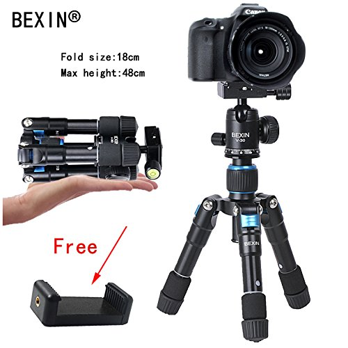 BEXIN Foldable Mini Tripod - Camera Tripods for Travel - Lightweight & Portable - with Universal Smartphone Mount
